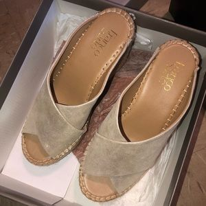 Champagne some sparkle wedge sandals size 7